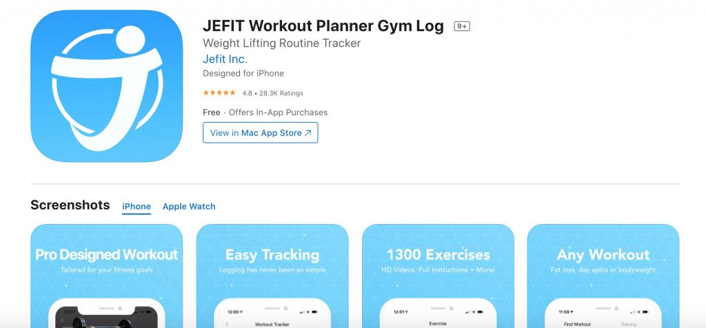 image showing JEFIT in app store